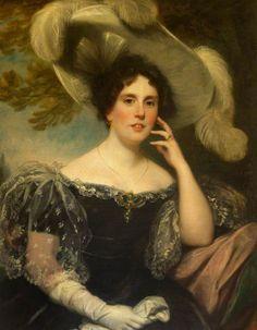 Frances Margaret Taylor, Mrs William Crane Blathwayt (1832). Thomas Phillips, RA (English, 1770-1845). Oil on canvas. Dyrham Park.  A half-length portrait of Frances Margaret Taylor, wife of William Crane, who took the additional name Blathwayt in...