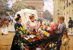 The Athenaeum - Flower Seller on the Champs Élysées (Louis Marie de Schryver - )