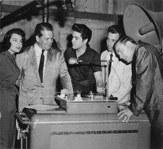 """Bob Neal and Dewey Phillips visit with Judy Tyler and Elvis Presley at the MGM sound stage during the production of """"Jailhouse Rock"""", June Photo courtesy George Klein's Elvis Presley Family Album Elvis Presley Movies, Elvis Presley Family, Elvis Presley Photos, Priscilla Presley, Rock And Roll, Freddy Rodriguez, Scotty Moore, Jailhouse Rock, Tom Parker"""