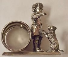 Authentic Rogers Smith Silver Plate Victorian Figural Napkin Ring , Boy And Dog