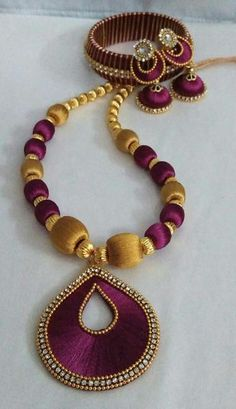 Magenta and Golden Silk Thread Full Set