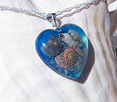 Handmade Sand and Seashell Beach Terrarium Heart Pendant