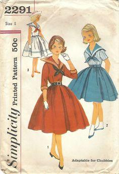 1950s Simplicity 2291 Vintage Sewing Pattern Girls Sailor Dress, Full Skirt Dress Size 7, Size 8