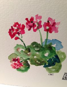 Geranium Watercolor Card by gardenblooms on Etsy
