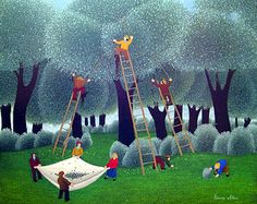 Harvesting the Chestnuts by Cesare Novi - GINA Gallery of International Naive Art
