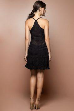 Black Long Reaf Crochet Dress - Vanessa Montoro US - vanessamontorolojausa