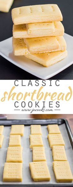 Classic Shortbread Cookies from Jo Cooks - a flaky, sweet treat that pairs perfectly with a cup of tea! Cookie Bakery, Cookie Desserts, Just Desserts, Delicious Desserts, Yummy Food, Cookie Cups, Holiday Baking, Christmas Baking, Yummy Cookies