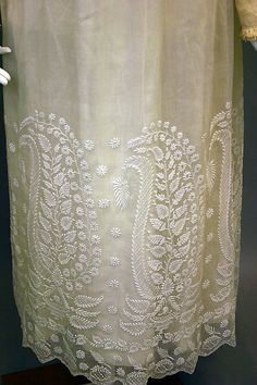 White cotton dress with chikan embroidery, ca 1820-25, British - Metropolitan Museum of Art.