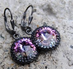 Mystic Lavender Swarovski Crystal & Oxidized Sterling Silver Crown Earrings