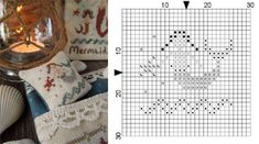 """The Little Stitcher - Mermaid's Chant free chart uses Crescent Colors """"Deep Fennel"""" and DMC 647, 632, 3781"""
