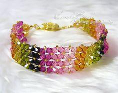 Simply Colorful Tourmaline Swarovski Crystal Bracelet por candybead