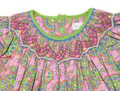 Petit Ami Baby / Toddler Girls Pink / Green Geometric Print Smocked Dress