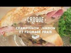 Croque au jambon, champignons et fromage frais - CuisineAZ