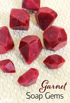 These Garnet Soap Gems are made with melt and pour soap and plenty of glitter. They make great holiday gifts, and are extremely easy to make!