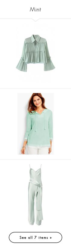 """""""Mint"""" by xidecx ❤ liked on Polyvore featuring tops, blouses, long neck ties, collar blouse, ruffle collar blouse, green blouse, neck-tie, tunics, tie top and green tunic"""