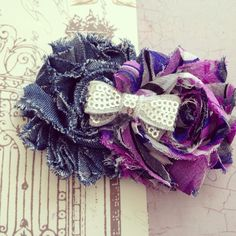 Denim and Purples Shabby Chic Hair Clip with Silver Sequin Bow for Baby Girl, Toddler, Girl on Etsy, $7.25