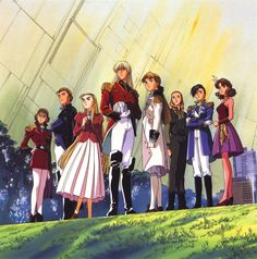 From left to right: Lady Une, Treize Khushrenada, Dorothy Catalonia, Zechs Merquise, Relena Darlian Sally Po, Lucrezia Noin and Catherine Bloom. From Gundam Wing.