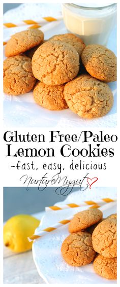 Gluten Free/Paleo Friendly Lemon Cookies.  Fast, easy and delicious!  Make in only 22 minutes.  A crispy outer layer with soft, chewy inside.  Your house will smell amazing when baking these!