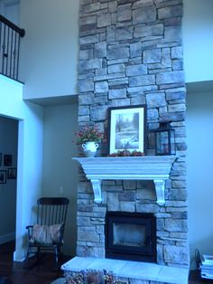 Wonderful stone work on the fireplace.