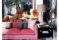 Kelly Wearstler: Domicilium Decoratus  Pink Sofa (more expensive than my car, but, me gusta)