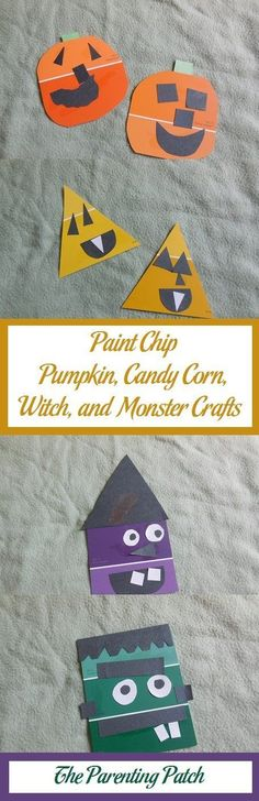 For some simple but festival Halloween crafts, try making pumpkins, candy corn, witches, and monsters using paint chips and construction paper.