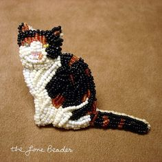Beaded Calico, black, white, orange or gray cat pin (Made to Order)