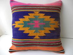 """KİLİM PİLLOW,20""""X20"""" inch Awesome Pattern Turkish Kilim Rug Pillow,Home Decor Throw Pillow Cover,Yellow Blue Pillow,Vintage Pillow."""