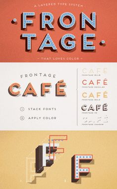 Frontage Font Frontage is a layered font system by designer Juri Zaech with a variety of design possibilities by using different combinations of fonts, type layers and colors. You are able to create a nice 3D effect by adding the shadow font or just use the capital letters of the regular and bold font style for a strong but simple artwork or headline. $55