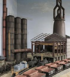 Please feel free to ask any questions or offer any suggestions. N Scale Model Trains, Model Train Layouts, Factory Architecture, Architecture Design, Structural Model, Steel Mill, City Landscape, Ho Scale, Steel Frame