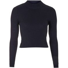 TOPSHOP Ribbed Wool Blend Cropped Jumper ($36) ❤ liked on Polyvore featuring tops, sweaters, navy blue, ribbed sweater, topshop sweaters, ribbed top, funnel neck sweater and wool blend sweaters