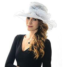 c5d2cd68 ICSTH Womens Kentucky Derby Summer Wide Brim Organza Church Party Hats  White >>> Details