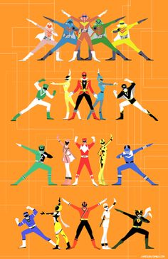"jameslien: ""My final Super Sentai tabloid-sized print for AX! Power Rangers Comic, Power Rangers Toys, Power Rangers Samurai, Power Rangers Ninja Steel, Go Go Power Rangers, Mighty Morphin Power Rangers, Kamen Rider, Character Poses, Character Design"