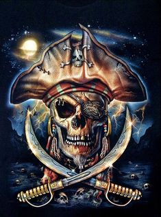 Super detailed creepy pirate captain skull, with simply amazing design and artwork. It's skulls, it's pirates, it's awesome. Pirate Art, Pirate Life, Pirate Flags, Skull Wallpaper, Black Sails, Arte Horror, Jolly Roger, Art Moderne, Skull And Bones