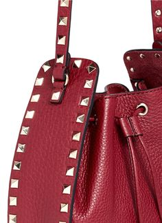 a326e532aeb4 Valentino Rockstud Grainy Leather Bucket Bag In Dark Red