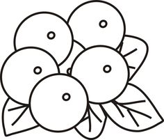 Cranberry blueberry fruit or berries in a bowl coloring for Blueberry coloring page