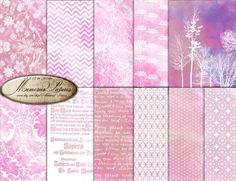Pink purple   Digital Paper / Damask Floral  tree  Geometric Watercolor   Background  printable  Sheets 12x12   (D12 011) by MemoriesPictures on Etsy