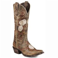 Corazon Embroidered Rose Cowboy Boots