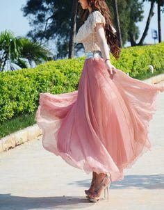 Chiffon Maxi SkirtSpring Long Skirt Maxi Dress by dresstore2000