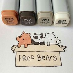 We Bare Bears: Grizz, Panda, Ice bear. Cute Image Colored with Copic Markers with reference colors Kawaii Drawings, Doodle Drawings, Easy Drawings, Doodle Art, Kawaii Doodles, Cute Doodles, Griffonnages Kawaii, We Bear, Copic Art