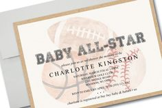 Celebrate your little all-star with this sports themed baby shower!  M A T C H I N G - P A R T Y - B U N D L E https://www.etsy.com/listing/514237777/vintage-sports-baby-shower-party-pack?ref=shop_home_active_1  Personalize your very own invitation with this template! - Just download, edit, and print in just minutes!  P L E A S E - N O T E + This listing is for a DIGITAL PDF file only (No items will be shipped) + Two 5 x 7 Invitations are formatted to print on an...