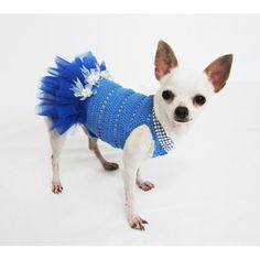 Blue Dog Tutu Dress With Flower Bridesmaid Wedding Dress 2F (XXS) * Click on the image for additional details. (This is an affiliate link) #DogApparelAccessories