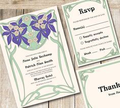 Printable Wedding Invitation Set  Art nouveau by RoseBonBonShop