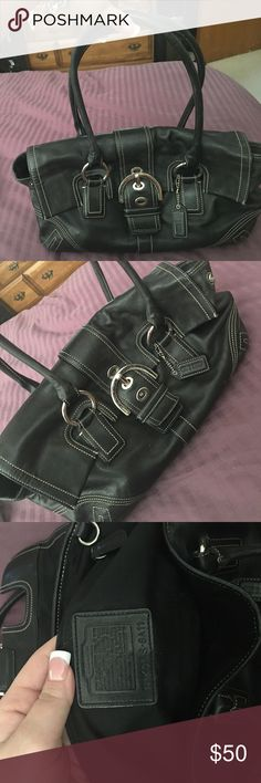 Coach handbag Black leather legacy Coach shoulder bag-Authentic! Will come with Coach Dustbag Coach Bags Shoulder Bags