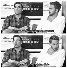 Zachary Quinto and Chris Pine continue their battle of words http://youtu.be/RUWl-AE3ocU