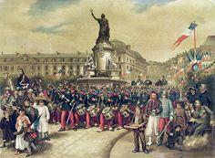 Quatorze Juillet, 1881 (colour litho) by Albert Bligny