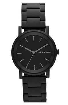 $135 DKNY 'Soho' Round Bracelet Watch, 34mm at Nordstrom.com. Beveled indexes orbit a clean, logoed dial that features three-hand time on this ultramod watch. The matte-black bracelet completes the coolly monochromatic look.