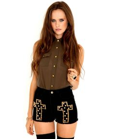 Studded Cross Denim Shorts-shorts-missguided