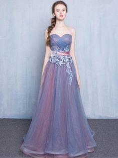 Chic A-line Sweetheart Blue Tulle Applique Modest Prom Dress Evening Dress AM389