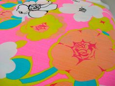 hot pink fabric with yellow flowers | Reserved for Suzanne-Groovy Hot Pink Flowers Vintage Fabric-3 Yards-36 ...