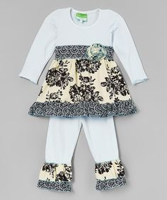 Loving this Black & White Floral Ruffle Tunic & Leggings - Toddler & Girls on #zulily! #zulilyfinds